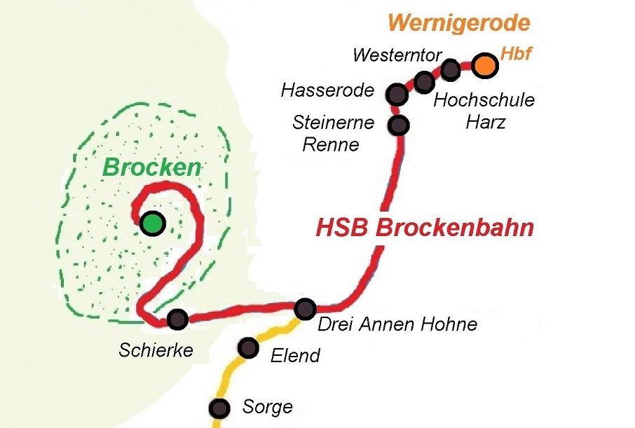 Landkarte Brockenbahn